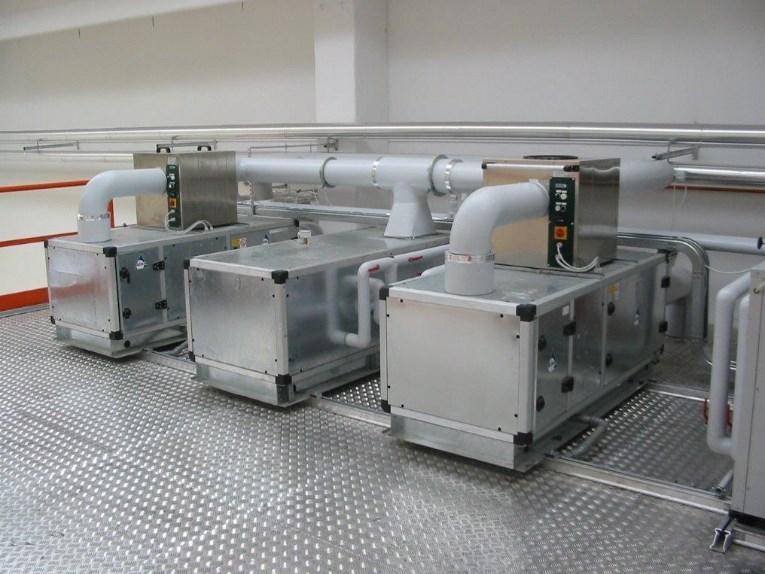 Impianto di trattamento aria per produzione alimenti in atmosfera controllata